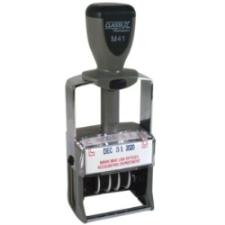 ClassiX M-41 Self Inking Dater is our most popular Date Stamp.  It designed, with metal base and uprights, along with it's metal/plastic body make the M-41 Self Inking Dater a perfect stamp for repetive stamping. Easy replaceable ink pad.